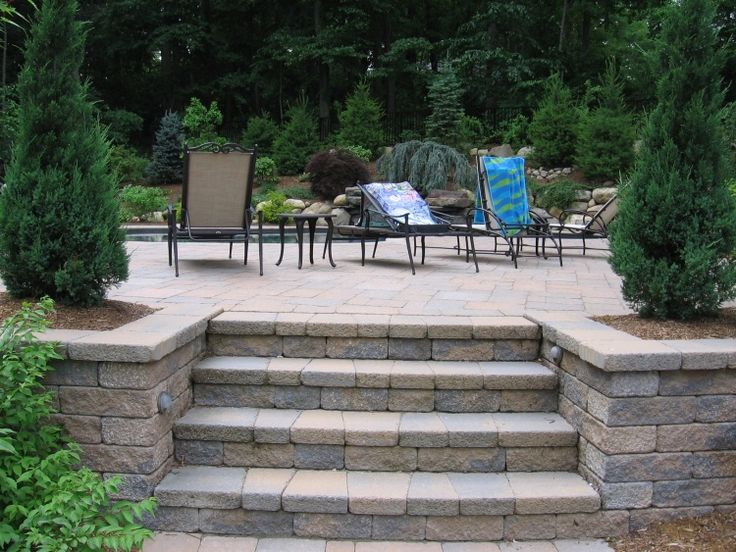 Concrete pavers patio stairway inset and rail google for Pictures of stone steps