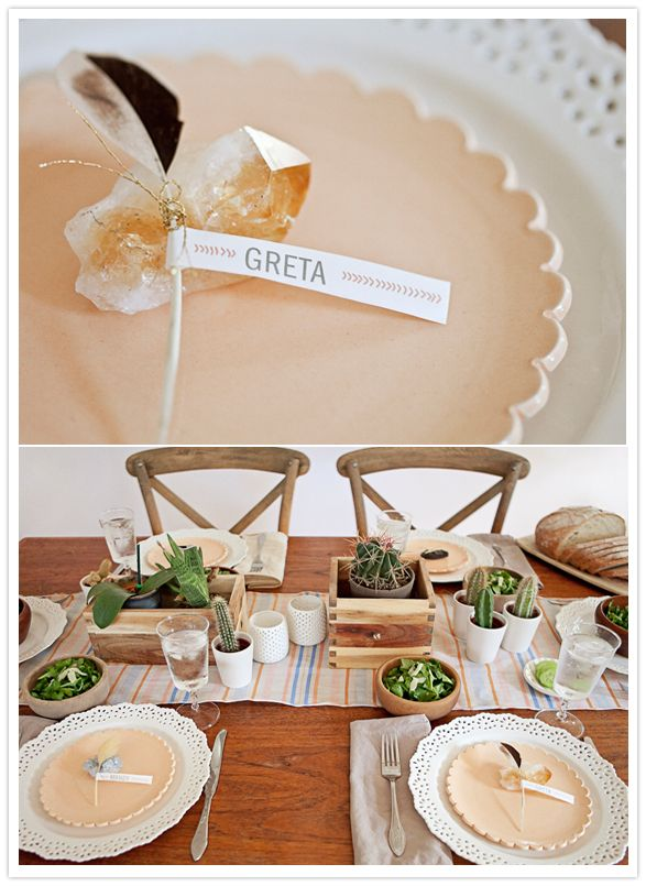 native chic place setting with feathers, succulent centerpiece #camillestyles