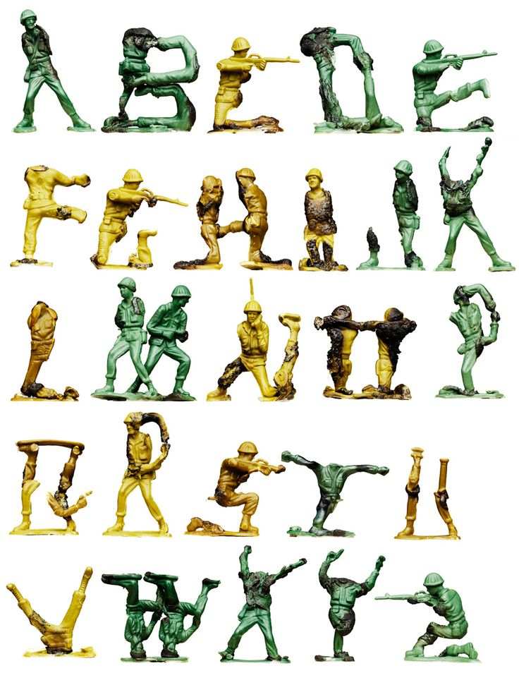 fireinthehole alphabet! Yeah! In a bold move, this artist has managed to combine Sculpture, Toy Collecting, the Horrors of War, Graphic Arts, Pyromania and Childhood Sandbox Memories to create this fontastic alphabet! Spell-on!!!