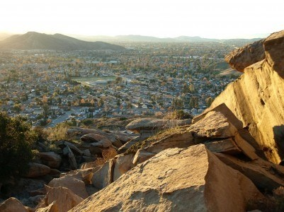 Afternoon view of rock formations and suburban Simi Valley California. Stock Photo