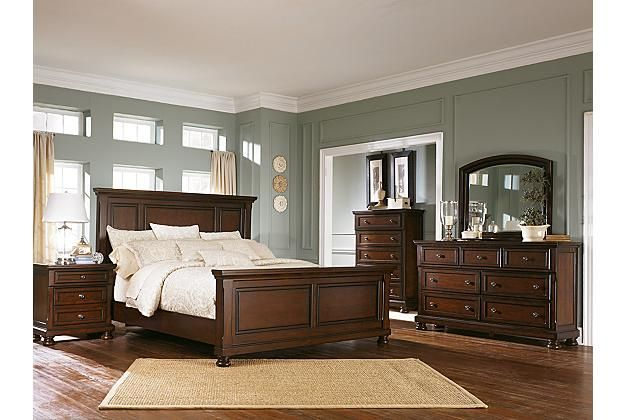 Porter dark wood panel bed frame and traditional furniture set with chest of drawers View 3