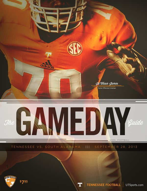 Tennessee Football 2013 Gameday Guide Covers by Jonathan King, via Behance
