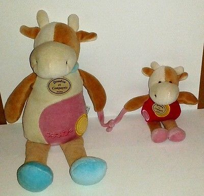 Doudou et Compagnie Paris Mother Cow + Baby Cow Cerise 12 Inch Plush Toy
