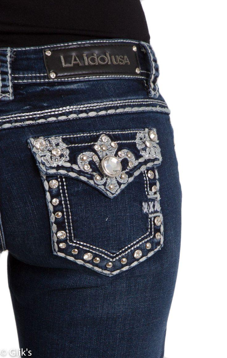 LA Idol Jeans Fleur De Lis  Bootcut.  One of the few styles we will buy in a bootcut.