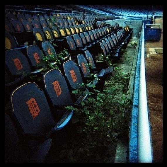 Detroit Tiger Stadium Reclamation  18x18 Holga by TEN21Creative, $80.00