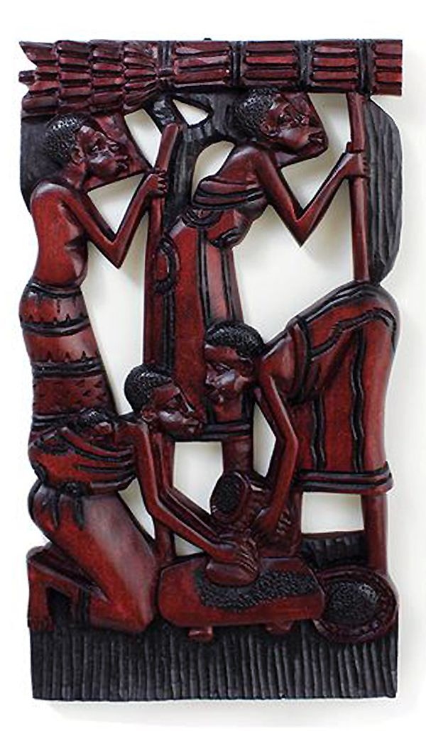 African Village Wood Plaque Style B African Carving Wood Plaques Wall Carvings