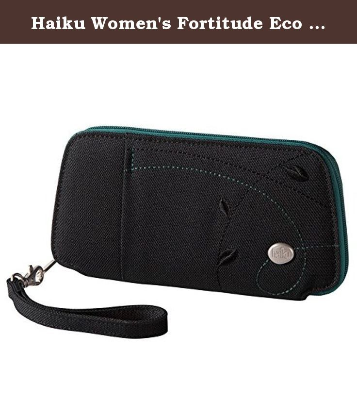 Haiku Women's Fortitude Eco Clutch Wallet, Black Juniper. On your wrist or in your favorite bag, this super organized wallet is a fortress for the essentials. We gave our classic zip wallet a fresh update on form and function, with a tapered silhouette and an RFID Shield to protect your cards from Rogue technology. The fortitude's interior compartments include a plethora of credit card slots, a zippered coin pocket and enough room for your passport, bills, receipts, and even your lip balm.