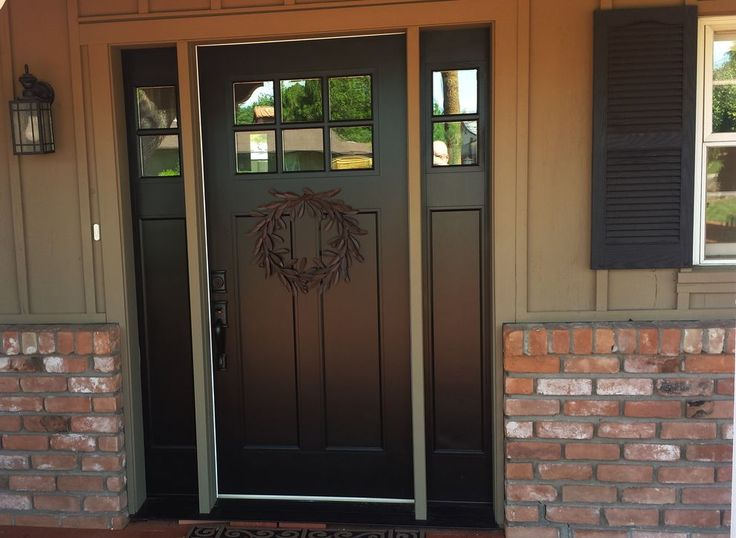 White fiberglass entry doors with sidelights popular for Black wooden front door