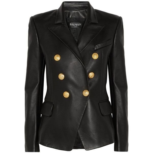 Balmain Double-breasted leather blazer (13.165 BRL) ❤ liked on Polyvore featuring outerwear, jackets, blazers, balmain, tops, black, black leather blazer, black double breasted blazer, black leather jacket and black blazer