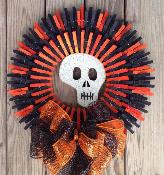 Double Halloween clothespin wreath | Craft Ideas ...