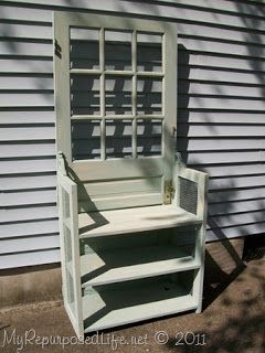 furniture from old doors   Add sides & shelves to make a storage center - great for a hall ...