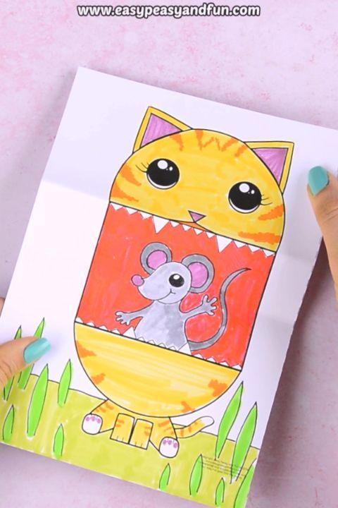 Wer ist ein nettes Kätzchen? Unsere Überraschung Big Mouth Cat druckbare ki