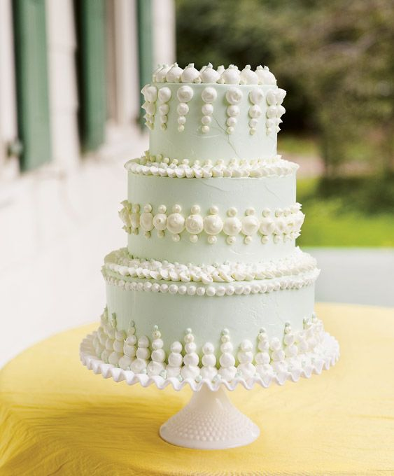 """Brides: """"Homemade"""" Wedding Cakes. The expert use of a few pastry-bag tips creates a not-too-perfect cake that's about tastiness, not grandstanding. With dollops of luscious buttercream in varying sizes, the design looks prim but not overly twee."""