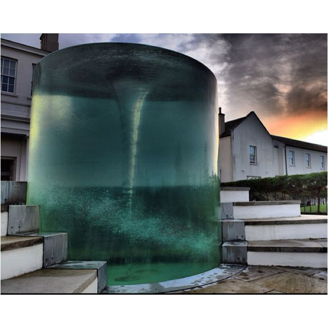Air core vortex water sculpture by William Pye. Seaham Hall, Sunderland, 2000.