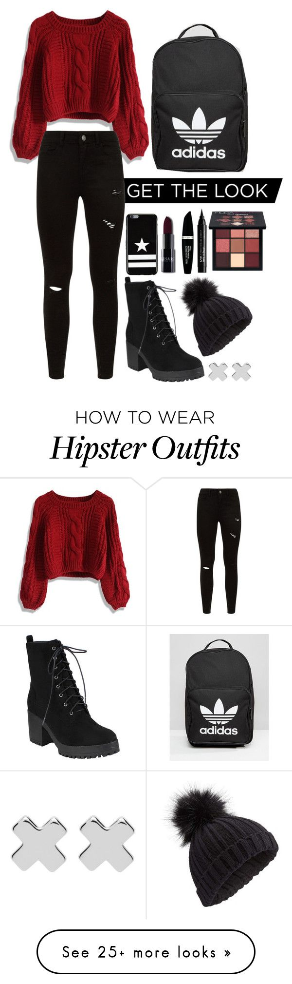 """Red and Black Hipster"" by misorachan on Polyvore featuring Chicwish, Miss Selfridge, Witchery, Givenchy, Max Factor, NYX, Huda Beauty and adidas"