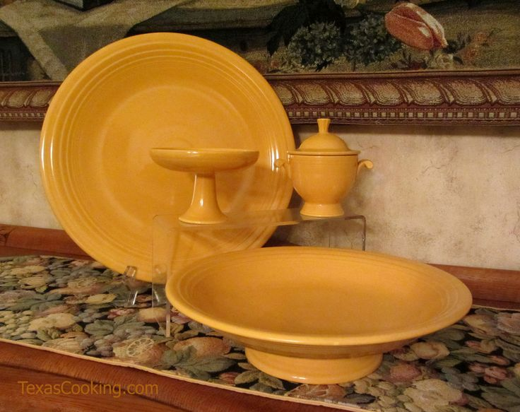 Vintage Yellow Fiesta featuring chop plate, presentation bowl, sugar bowl and sweets comport. #Fiestaware