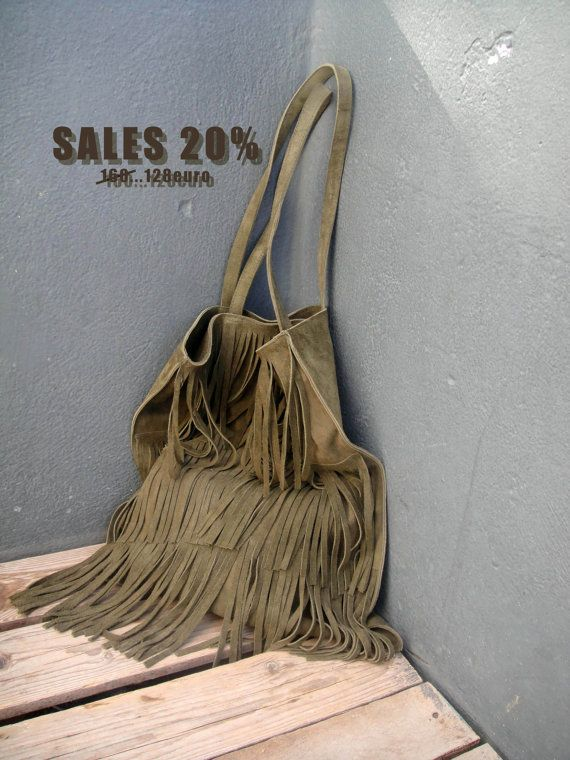 Check out this item in my Etsy shop https://www.etsy.com/listing/210965585/sales-khaki-suede-fringe-tote-suede