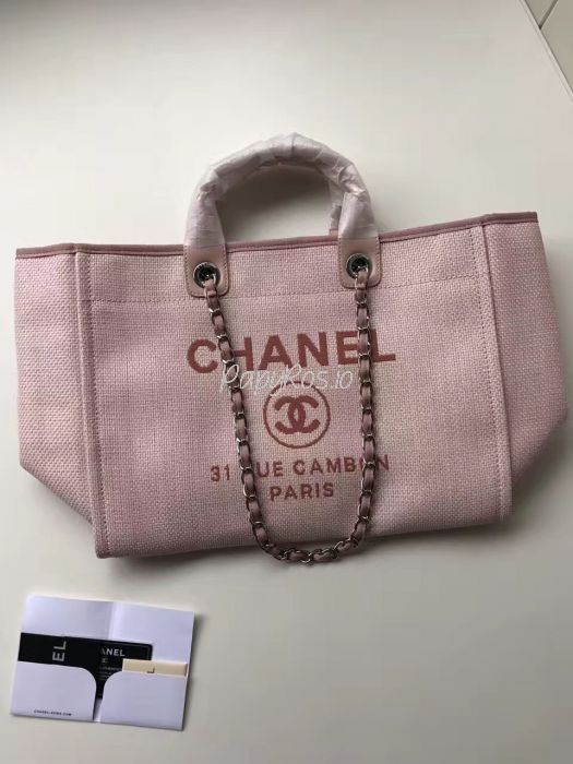 d46d1ac5dd5b Replica Chanel A66942 Large Toile Deauville Shopping Bag in Poudre Pink
