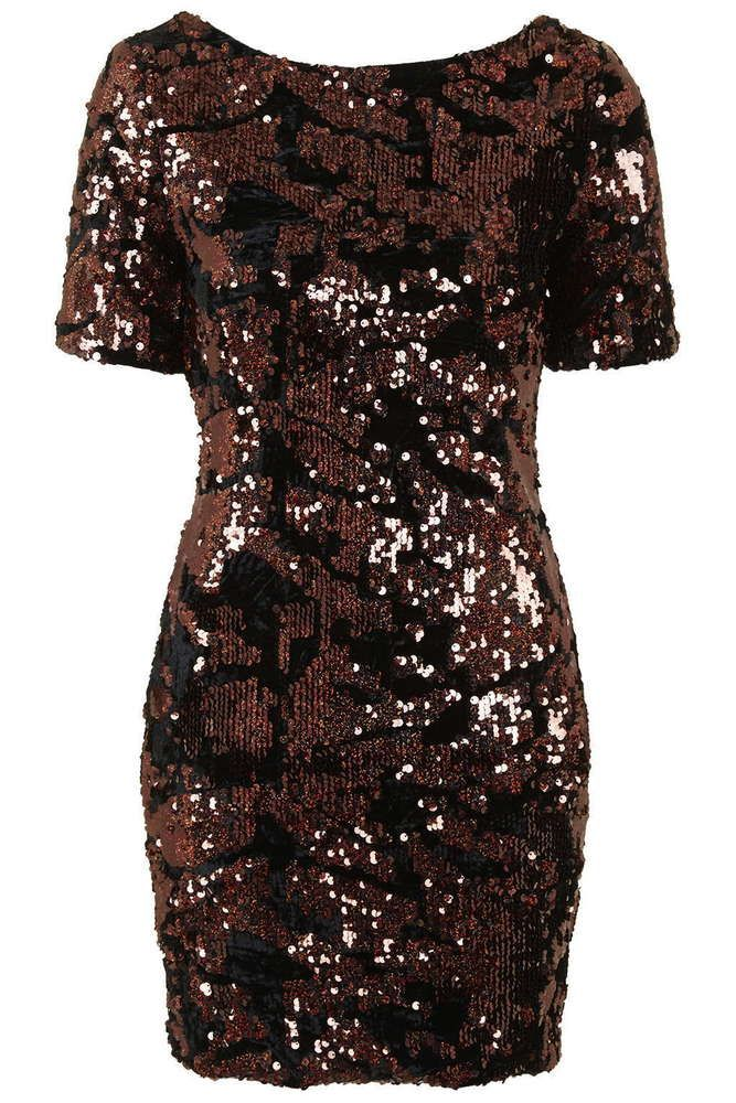 NEW TOPSHOP BLACK BROWN BRONZE SEQUIN BODYCON PARTY DRESS RRP £68 6 to 16