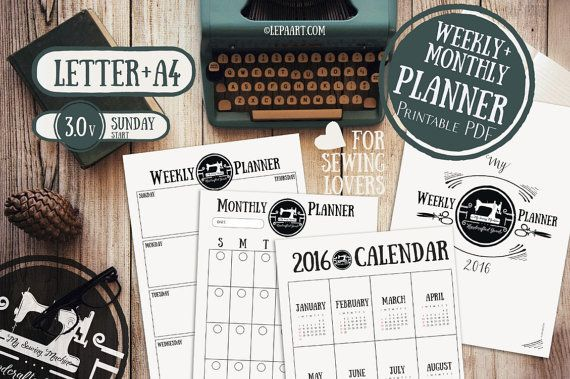Weekly and Monthly planner and 2016 Calendar: 4 side: Cover, 2016 Calendar, Monthly planner, Weekly planner  ❤ INSTANT DOWNLOAD ❤ INCLUDE Letter + A4