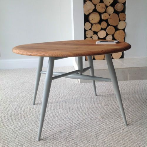 ERCOL-COFFEE-TABLE-ROUND-DROP-LEAF-ELM-TOP-MID-CENTURY-ENGLISH-FURNITURE