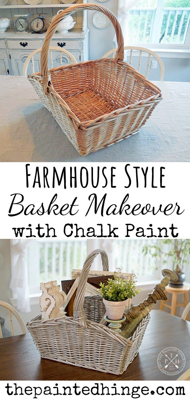 Farmhouse Style Basket Makeover with Chalk Paint | Painted ...