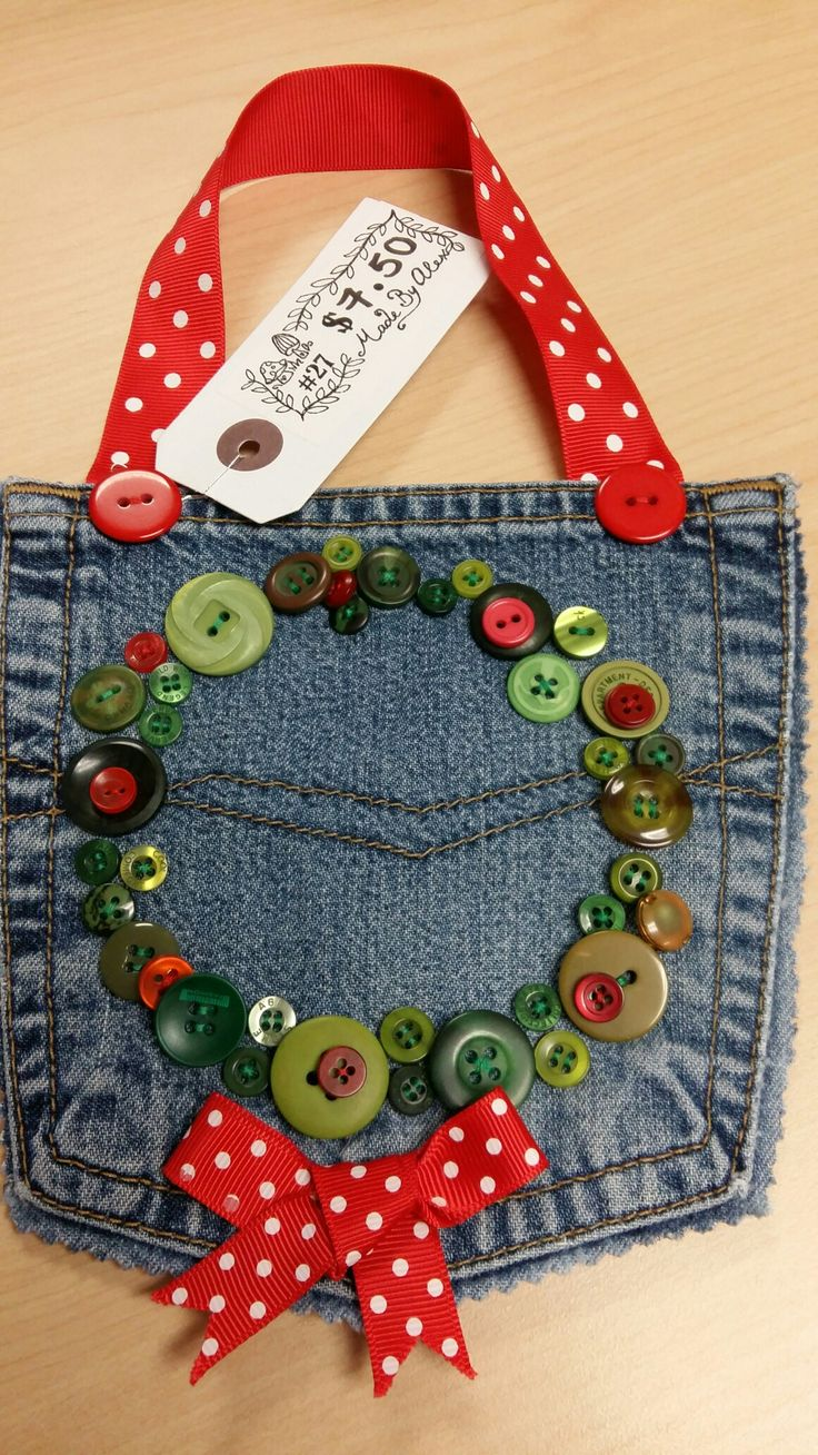 Recycled jean pocket Christmas button wreath