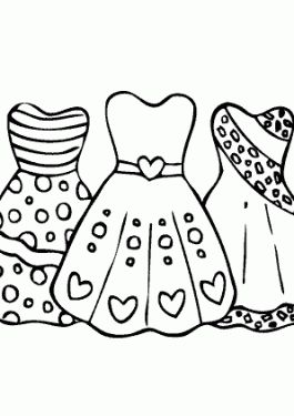 Cool Dresses For Girls Coloring Page Printable Free