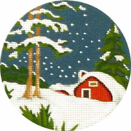 Melissa Shirley Designs | Hand Painted Needlepoint | Red Cottage Snow