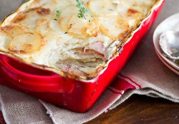 Sneak some bacon into a creamy potato gratin.