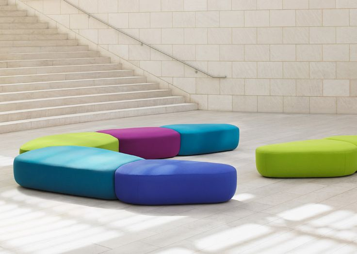 Colourful modular seating created to break up large public spaces.