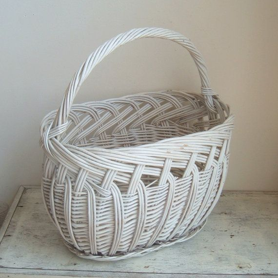 vintage large painted gathering basket by ImSoVintage on Etsy, $38.00