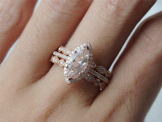 marquise morganite wedding set 10ct morganite handmade ring wedding ring and two half eternity ring - Engagement Wedding Rings