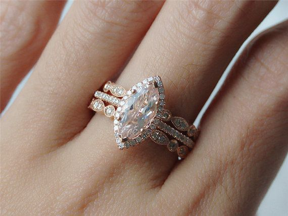 Marquise Morganite  Wedding  Set  1.0ct  Morganite Handmade Ring Wedding Ring and  Two Half Eternity Ring Promise Band 14k Rose Gold Rng
