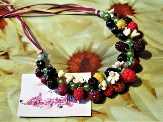 Necklace Sweet Berry polymer clay decoration by StudioHopeRU