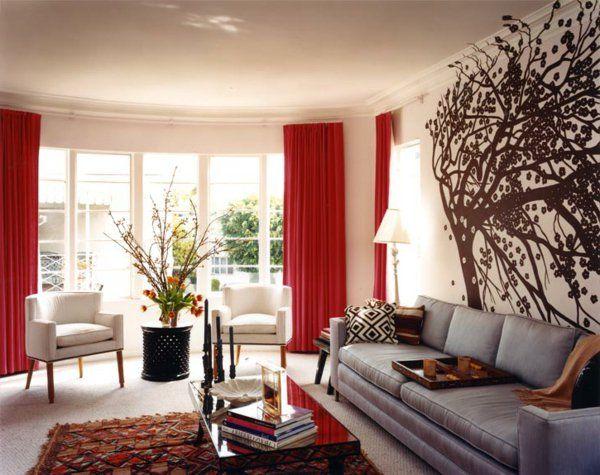 Rot Farben Gestaltung Fenster Wohnzimmergardinen Gemtlich