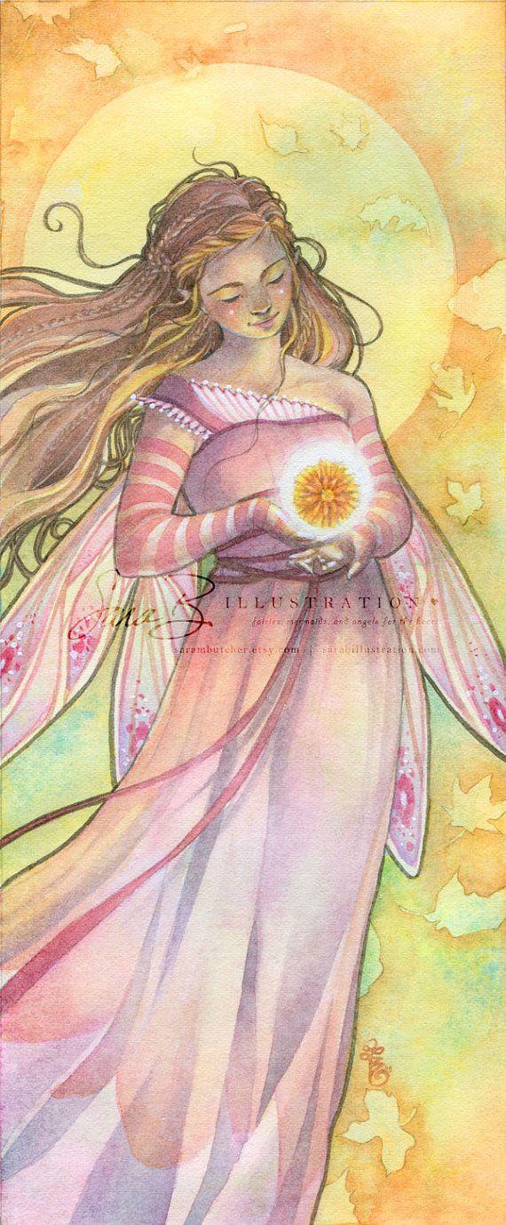 Flower Fairy Art Print  Calendula October Floral Opal Pink by sarambutcher…