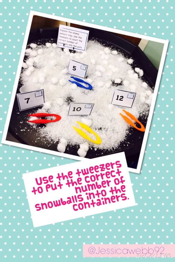 Using tweezers to count the correct number of a snowballs into the containers. EYFS
