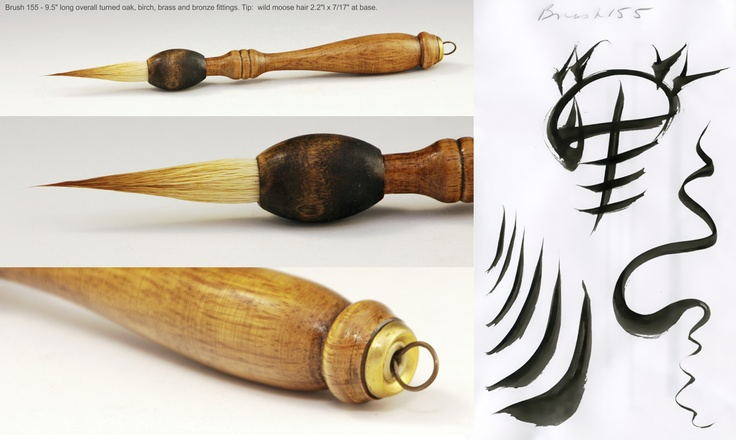 New artists brush, turned oak, birch, moose hair with brass and bronze wire fittings.