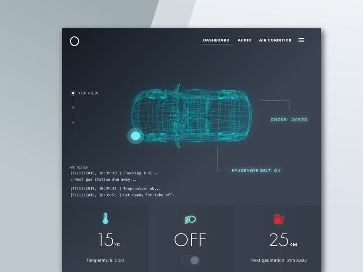 Hey there, this is Daily UI #034 and challenge today is:  Car Interface