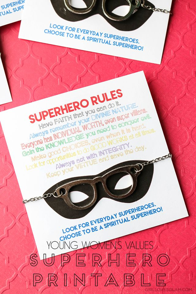 Young Women's values superhero printable used to kick off girls' camp. Values align with different superhero strengths. Free printable!