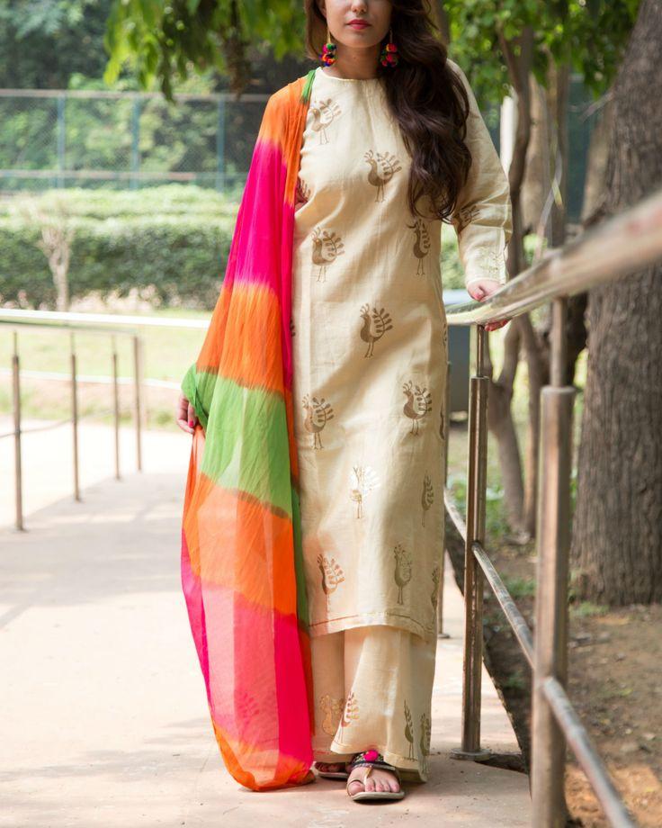 Beige Silk Embroidered Salawar Suit