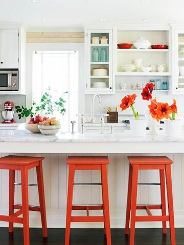 Color in a white kitchen