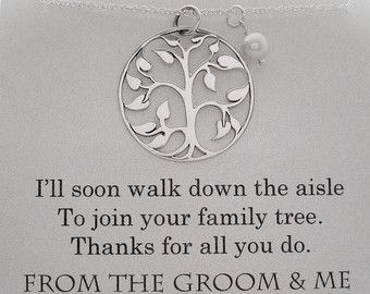 Mother of the Groom Necklace ••••••••••••••••••••••••••••••••••••••••••• •Charm Type/Size: small 14mm (about 1/2) *shiny finish, 14k gold plated tree charm, *The charm is shown compared to a dime in the fourth photo.  •Customization: The card comes customized with date of your wedding and the following quote. If no date is listed, the card will just be sent with the quote: Ill soon walk down the aisle To join your family tree. Thanks for raising The man of my dreams. LOVE, THE BRIDE...