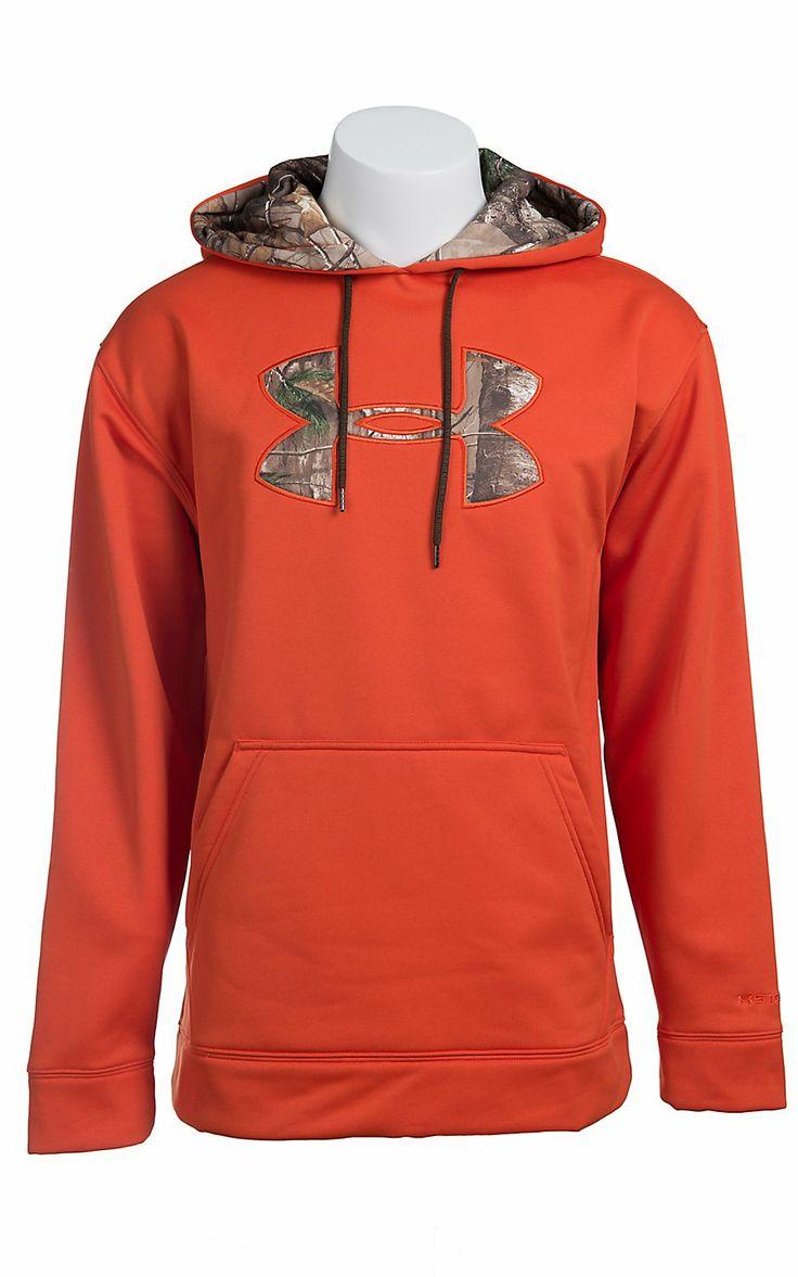 Under Armour® Men's Dynamite Orange with Camo Logo Fleece Tackle Twill Storm Hoodie 1004429864