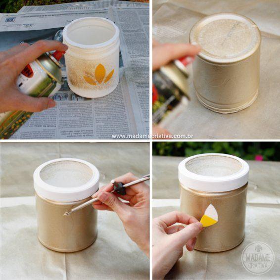 Como pintar e fazer desenhos com Spray - Vasos - Reaproveitamento de potes plásticos - Passo a passo com fotos - How to repurpouse Herbalife...