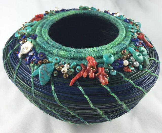 Embellished Pine Needle Basket by Marcie Stone 2016