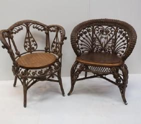 Two Victorian Curlicue Wicker Chairs, Heywood Bros: