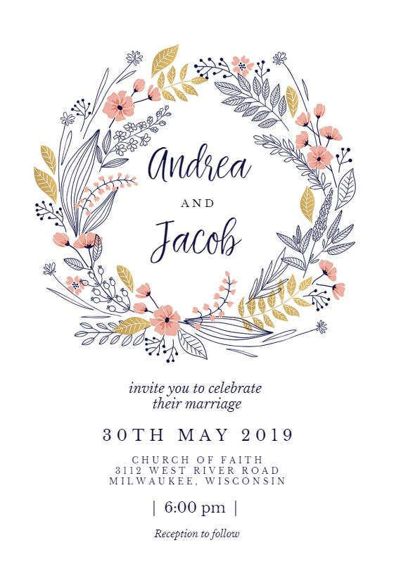 Wedding Wreath invitation template. Customize, add text and photos. Print, download, send online for free!  #invitations #printable #diy #template #wedding