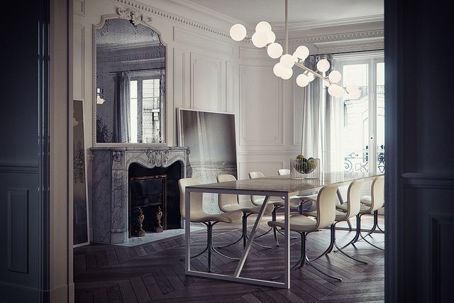 Modern French dining room.  Herringbone wood floors. Lighting. Simple. Elegant.